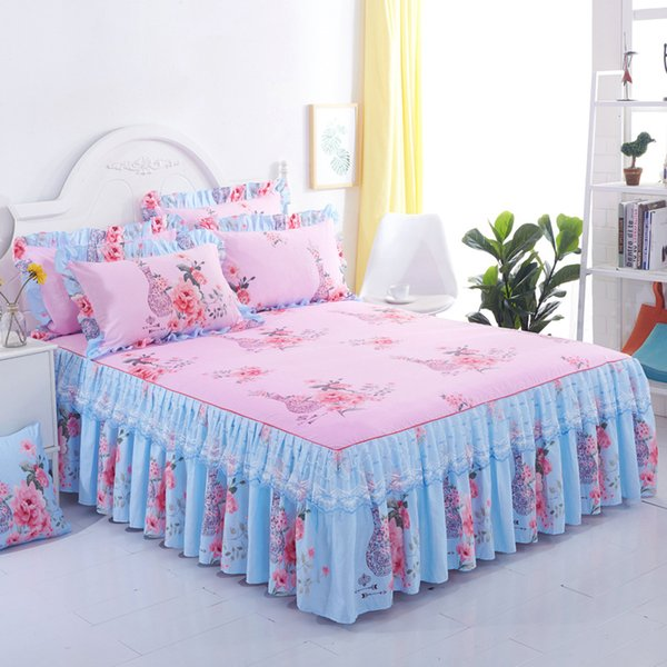Floral Fitted Sheet Cover Graceful Lace Bedspread Bedroom Bed Cover Skirt Decoration Non-slip Mattress Skirt cubrecama