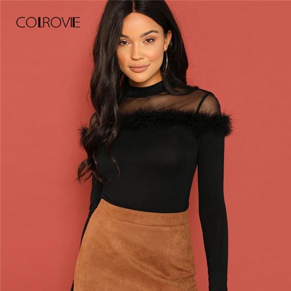 Colrovie Schwarz Mesh Sheer Yoke Kunstpelz Koreanische Winter T-shirt Frauen Kleidung Langarm Hemd Vintage Süße Damen Tops T Q190508