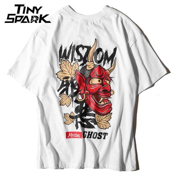 Hombres Fantasma Camiseta Hip Hop Carta Imprimir Devil Wisdom Mens 100 Algodón camiseta Harajuku Negro Ropa para Adolescentes Marca Urban Streetwear Y190413