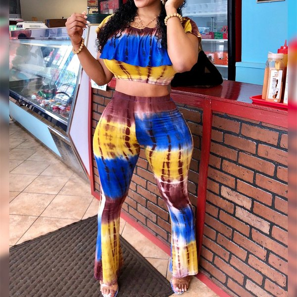 Women Stripe Print Ruffles Two Piece Sets Casual Short Sleeve Crop Top And Flare Pants Suits Summer 2 Piece Outfits
