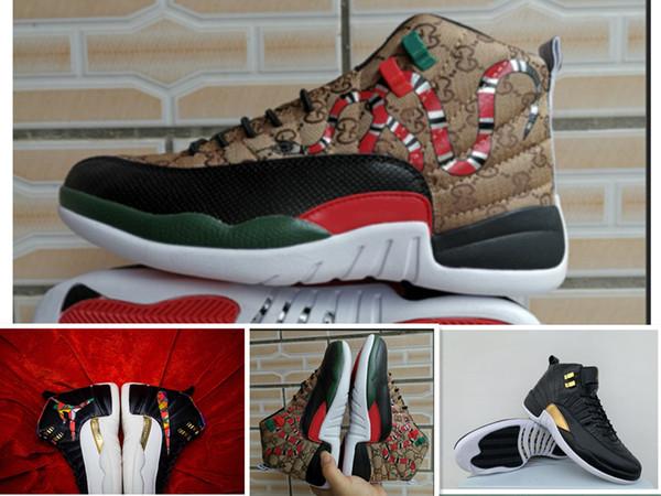 Economici 12s serpente nero marrone rosso uomini scarpe da basket nuovo stile 12s mens serpente CNY Wings Multicolor sportive sneakers di design