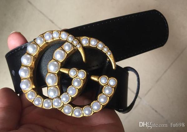 Hot 2018 Fashion Business Ceinture delle donne cinture di 3,8 centimetri di perle di design Riem con oro Z fibbia cintura nera con la scatola come regalo 62vb