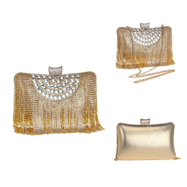 Mulheres Moda Pedrinhas frisado borla Bag Lady Bolsas de Ombro Cadeia Pequeno Dia cluth Evening Bag for Wedding Party Nightclub