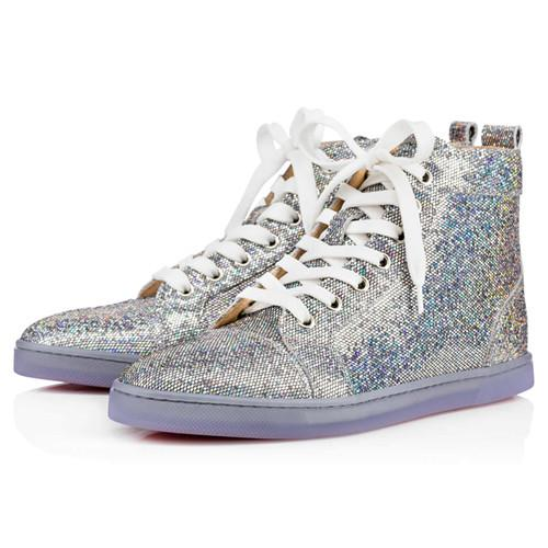 Perfect Shiny Glitter Leather High Top Fashion Red Bottom Shoes High Quality Women,Men Designer Casual Walking Red Sole Flat Size 36-46