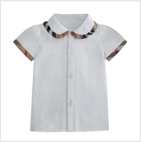 best selling Lovely Girls Short Sleeve Shirts Summer Kids Turn-Down Collar Plaid Shirt Children Cotton Casual Shirts Baby Girl Tops