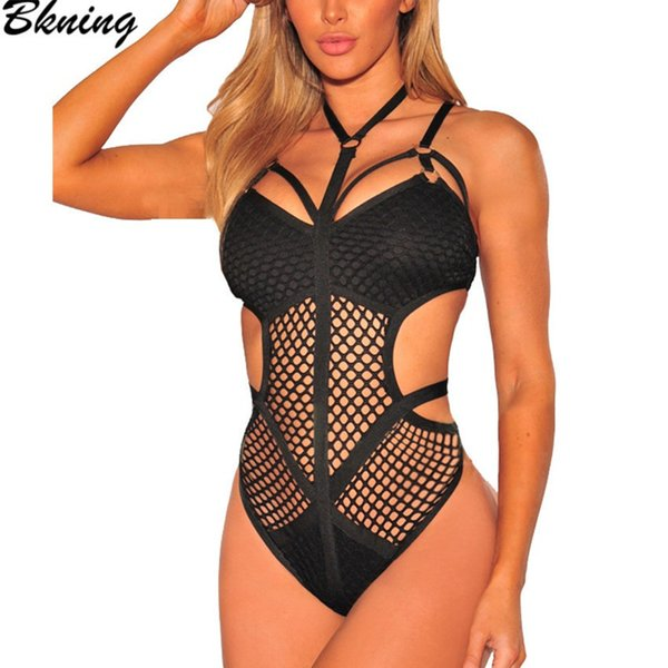 2019 One Piece Swimsuit Mesh Fishnet Cut Out Swimwear Swim Suit Black White May Swimsuits Swimming Suit For Women Sexy Monokini J190519