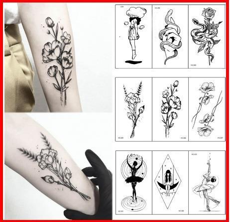 Acheter 2019 Mode Respectueux De Lenvironnement Chaud Populaire Ballet Noir Blanc Fleurs Tatouages Autocollant Dessin Temporaire Body Art Faux Eau