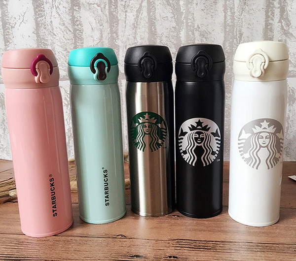 top popular 500ml Starbucks Bottles Stainless Steel Water Bottle Coffee Mugs Double Wall Insulated Cars Beer Cups Coffee Mug Travel Cup 2021