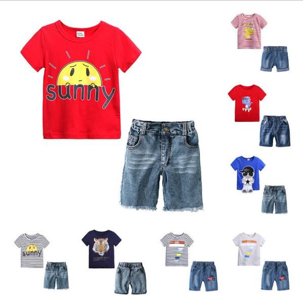 Baby Jungen Dinosaurier print Outfits Kinder Striped Top + Denim Shorts 2pcs / set Sommer Anzug Boutique Kinder Kleidung Sets 8 Farben B11