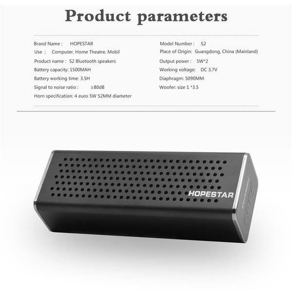 HOPESTAR S2 Bluetooth Speaker Wireless WaterProof IPX6 Column Box Bass Mini Subwoofer Portable With TF Card USB FM Mic speaker Charge Mobile