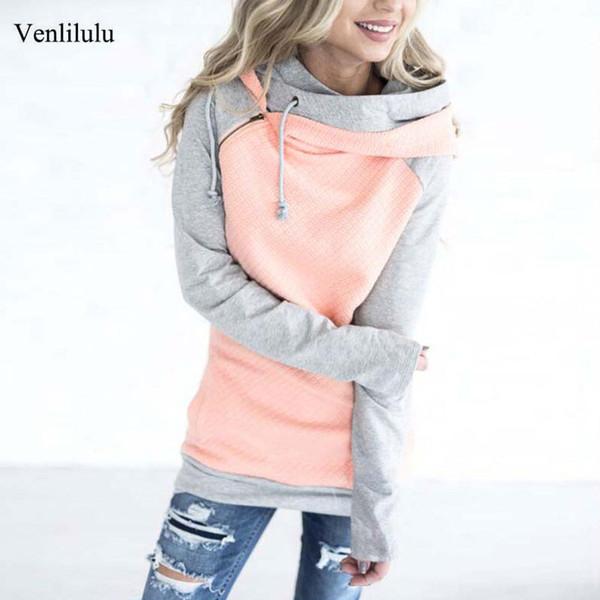 Donna Autunno Felpa Plus Size Felpa con cappuccio femminile incappucciati caldi Donne Felpe con cappuccio Pink Ladies inverno