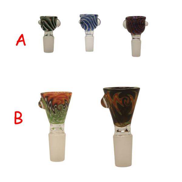 Wig Wag Big Bowls Heady Glass Bong Bowls 14mm 19mm Male USA Color Dab Straw Glass Water Pipe Bong Bowls