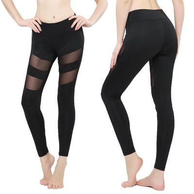 Womens Leggings Autumn Spring Fitness Plus Size Sports Yoga Pants Sexy Hollow Leggings Tight Trousers Mesh Size S-3XL