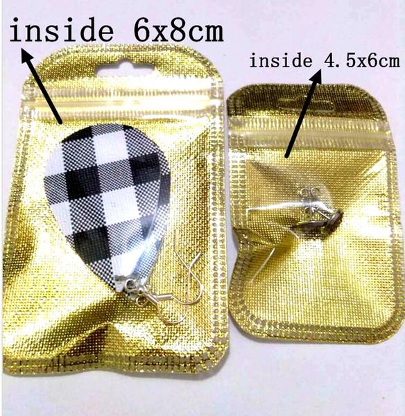vendita all'ingrosso Nuovo 2 formati Fashion Gold Foil Jewelry Bags Jewelry Regalo di natale orecchini Sacchetti Sacchetto all'interno 4.5x6cm 6x8cm