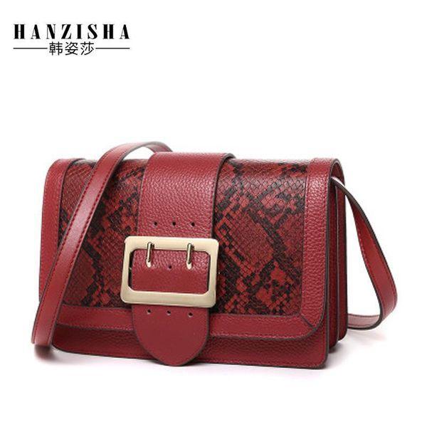 Nice Fashion Serpentine Pattern Genuine Leather Women Messenger Bag Famous Brand Bag Women Flap Luxury Crossbody