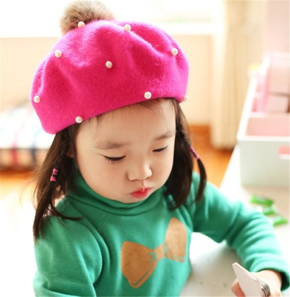 Fashion Children Pearl Berets Spring Berets Autumn Kids Cute Beret Hats Baby Girl Hat Caps Retro Caps Fashion Fur Beanie