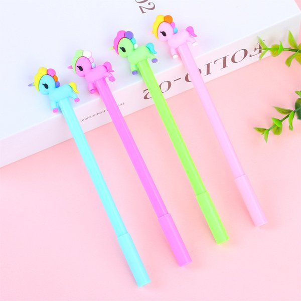 top popular Kawaii Silicone Candy Color Unicorn Gel Pen 0.5mm Black Child Writing Pen Office Examination Office Material School Supplies wholesale 2019