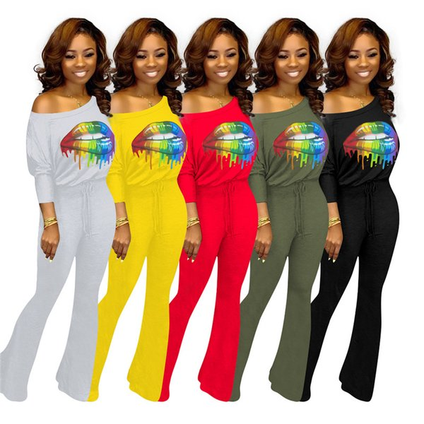 Womens designer sexy Jumpsuits batwing sleeves print and long pants one piece set slash-neck new arrive hot selling women clothing klw2222