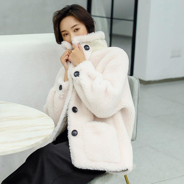 New Real Genuine Shearling Lamb Fur Sheep Jacket Womens Coat Winter Warm Parkas