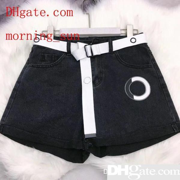 2019 New Fashion Denim Shorts With Belt Women Clothing 2019 Summer Cuffs Casual Hot Shorts gu-1