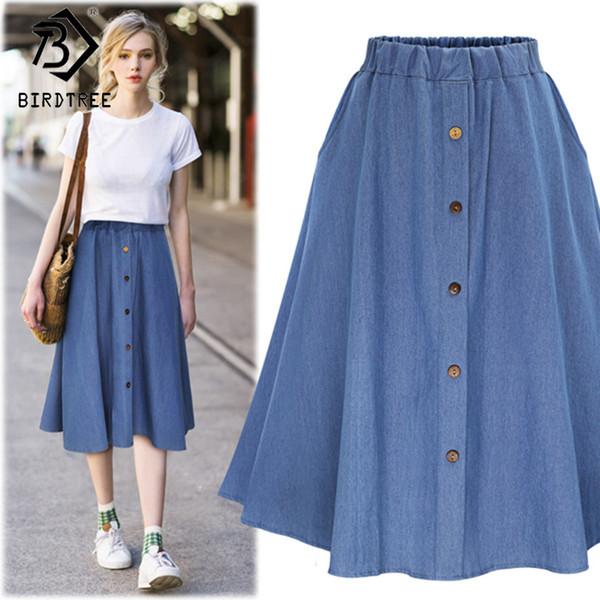 2018 Fashion Korean Preppy Style Denim Women Solid Color Long Skirt Nature Waist Female Big Hem Casual Button Jean Skirt B81811a Y19060301