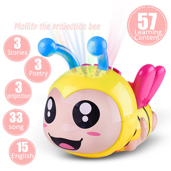Bee Light Projection Rattles Baby Toys 0-12 Months Educational Toys Music Toys For Newborns Rattles Baby Toy Mobile For Baby Cot