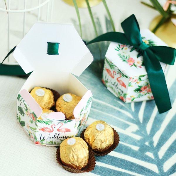 Мода бумаги сладкий подарочная коробка темно-зеленый фламинго шаблон гексагональной конфеты коробки для свадьбы подарки поставки 0 68yr BB