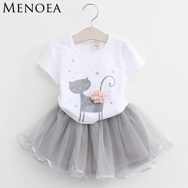 Menoea Mädchen Kleid Neue 2019 Kleidung Sommer Mode Stil Cartoon Niedlichen Kleinen Weißen Cartoon Kleid Kätzchen Gedruckt Kleider