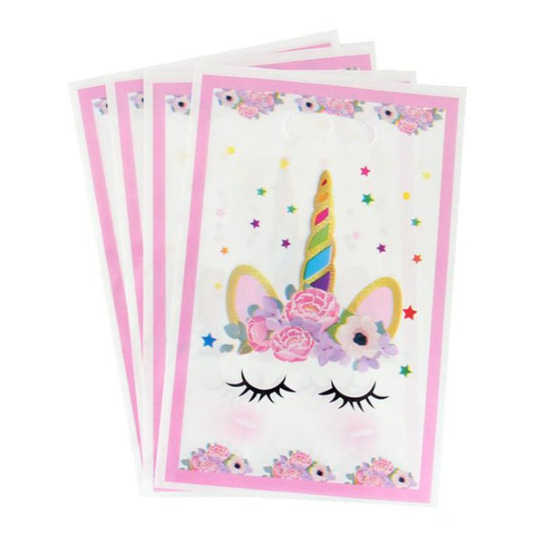 10pcs Unicorn Pink Theme Party Gifts Bags Party Decorations Plastic Candy Snack Foods Bag For Kids Favor Festival Supplies