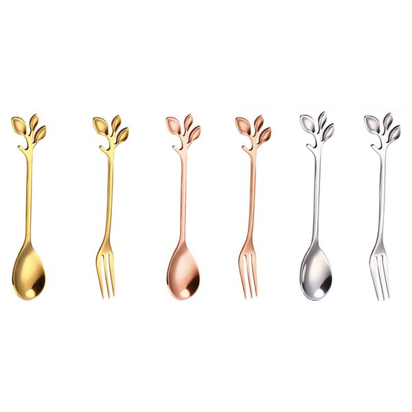 Beautiful European Style Stirring Coffee Leaf Spoon Fork Afternoon Dessert Fork Spoon Cake Cutter Table Silverware Ornament