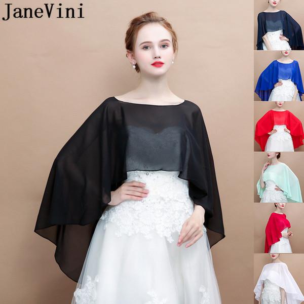 JaneVini High Low Chiffon Wedding Cape for Women White Brides Bolero Cloak  Shrug Arabic Bridal Capes Sheer Wedding Dress Wraps Stoles 8c022dc73e33
