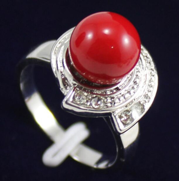 Jewelryr Jade Ring wholesale fashionable 10 mm lady's golden / red shell pearl 18kgp ring(#7.8.9) Free Shipping