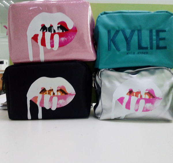 disponible Kylie bolsas Cosméticos Cumpleaños Paquete Bronce Kyliner Cobre Crema Sombra Kit de labios Maquillaje Bolsa de almacenamiento rosa plata negro verde