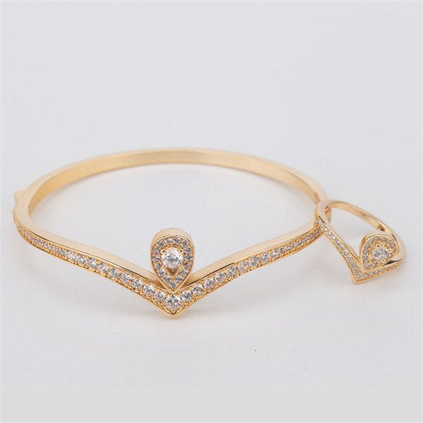 Mode Classique Bracelets Anneaux Haute Qualité De Luxe Or Argent Rose Bracelets Anneaux Ensembles Femme De Mode Bijoux De Mariage Ensembles Amoureux Cadeaux