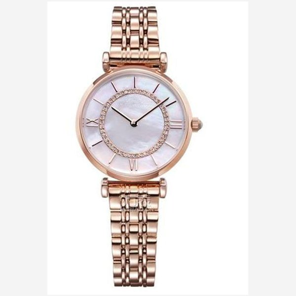 Rose Gold Woman Diamond Shell Dial Watches AR Luxury Nurse Ladies dresses female Butterfly buckle Bracelet Wristwatch gift for girls 5 style