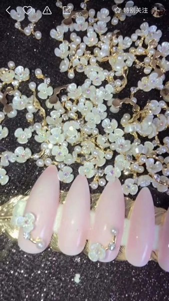 100Pcs/lot White Flower Nail Art Charms with Rhinestones | Floral Floating Charm | 3D Rose Flower Nail Charm Jewelry rhinestone