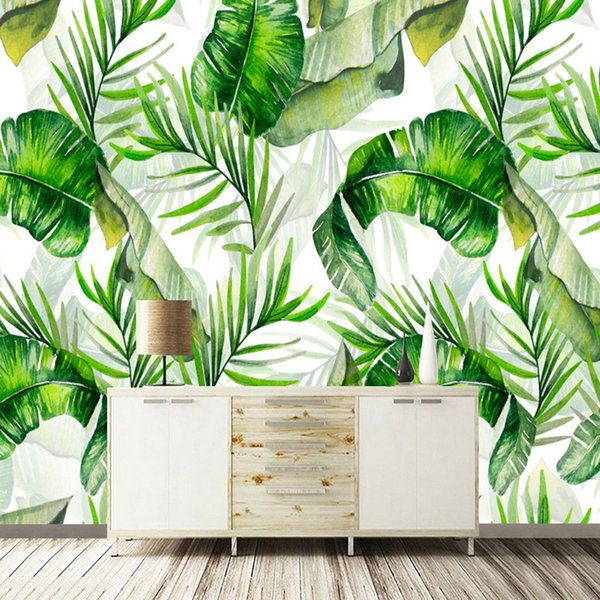 Custom Photo Wallpaper Hand Painted Banana Leaves Rain Forest Plants Green Leaf Decor Wall Painting Wallpapers For Living Room Free Wallpapers In Hd
