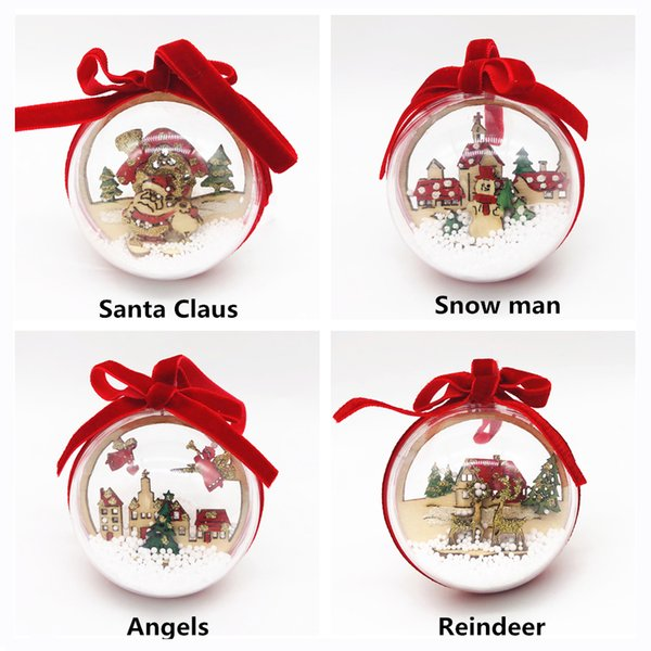 2PCS Christmas Tree Ornaments 6cm Clear Plastic Christmas Balls Transparent Decor For Xmas Home Party Decorations kids Gift