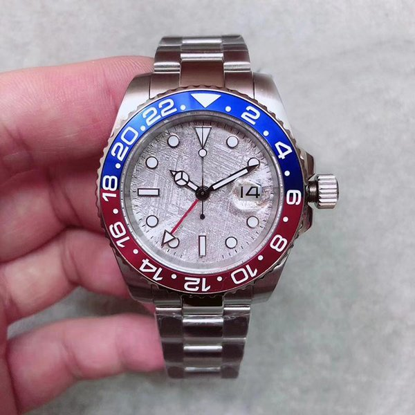 Lujo de calidad superior automático 5833 Jewel Movement GMT II Bisel de cerámica Dial Men Watch 316 Staiinless Band Wirstwatch para hombres