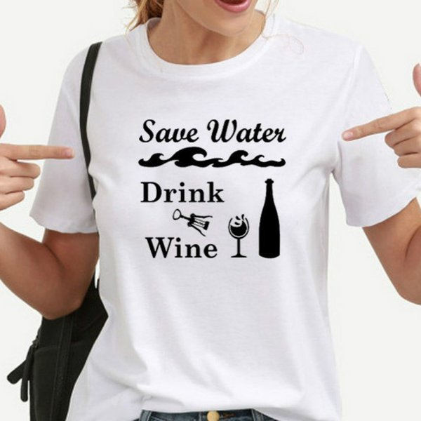 Save Water Drink Wine Funny T-shirts Women Harajuku Tshirt Streetwear Plus Size Shirts Short Sleeve Graphic Tee Dropshipping