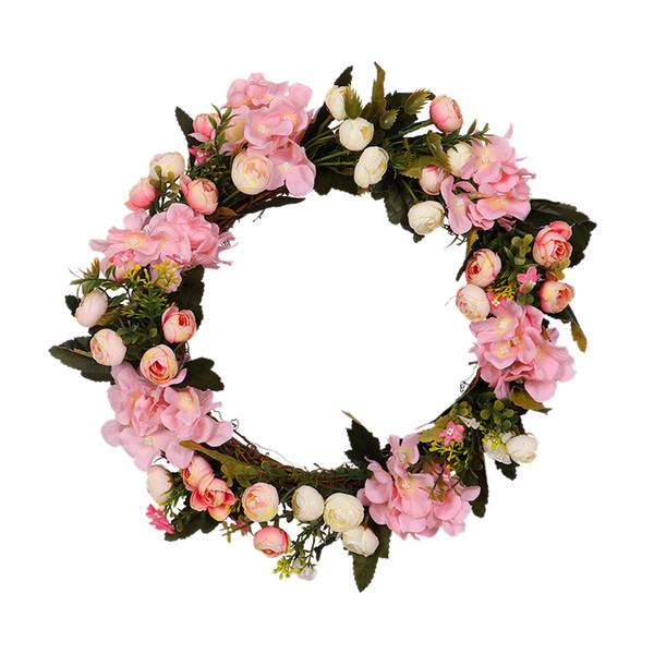 Camélia Artificielle Hydrangea Guirlande Simulation Rose Fleurs Guirlande Décor Maison Porte Linteau Guirlande