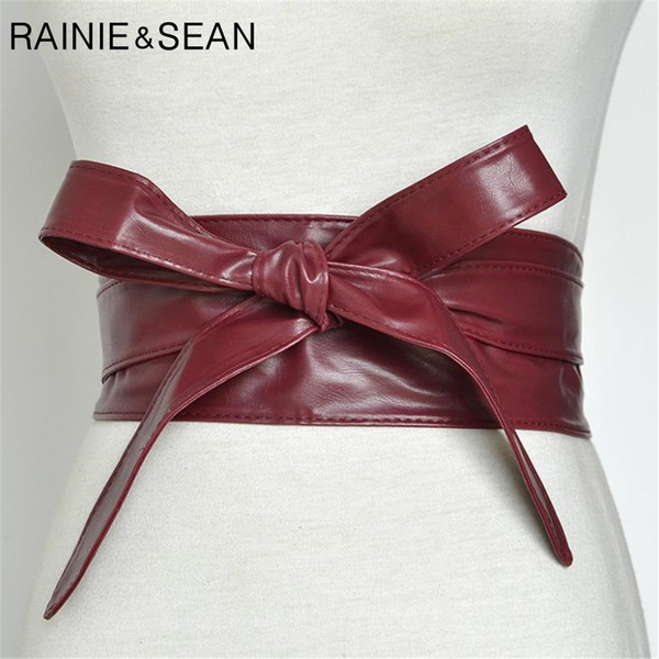 Rainie SEAN Femmes Ceinture Cummerbund en cuir pour femmes Bourgogne ceinture pour Manteau Bow Tie Auto Wrap Marque Mode Femmes