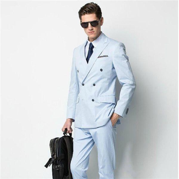 Brand New Side Slit Double Breasted Sky Blue Groom Tuxedos Peak Lapel Men Suits Wedding/Prom/Dinner Best Man Blazer (Jacket+Pants)