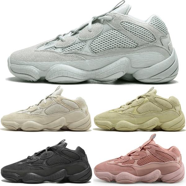 In stock Kanye West 500 Desert Rat Blush Salt Super Moon Yellow 3M Utility Black mens running shoes for men women sports sneakers designer