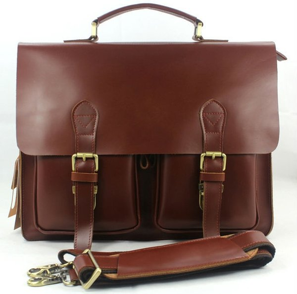 """Wholesale High Class Genuine Leather Briefcase portfolio men Briefcase Leather Business bag 14""""laptop bag tote office male #182231"""