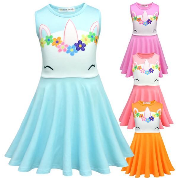 Единорог вышитое платье принцессы 2019 дизайнер детской одежды для девочек летнее платье единорог аппликация детская одежда туника одежда для девочек
