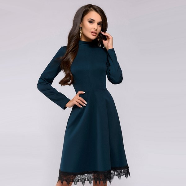 Women Vintage Lace Edge Dress Fashion Long Sleeve O Neck Knee Length A Line Dresses 2019 Autumn Ladies Green Party Dress Cocktail Party Dress Black