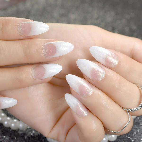 White French Fake Nails Clear White with Shimmer Glitter Pointed Stiletto False Nail Art Tips DIY Manicure Nails