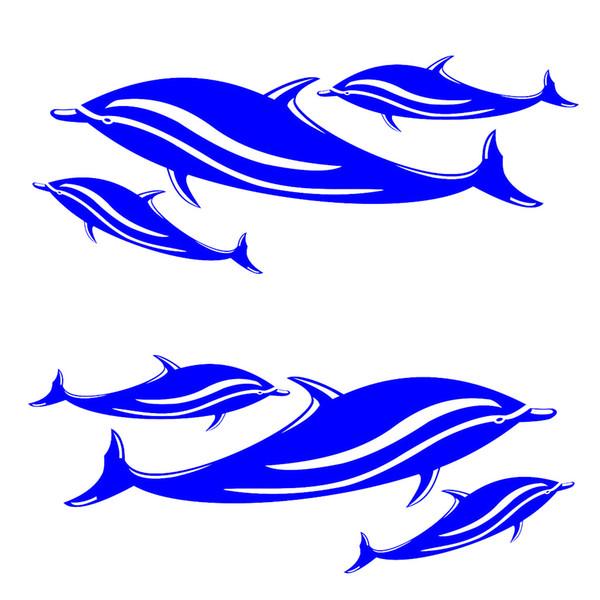 Nuevo 2 Unids / 6 Calcomanías de Delfines Azules Pegatinas Kayak Canoa Barco de Pesca Tabla de Surf Coche Pared Surf Esquí Accesorios de Gráficos