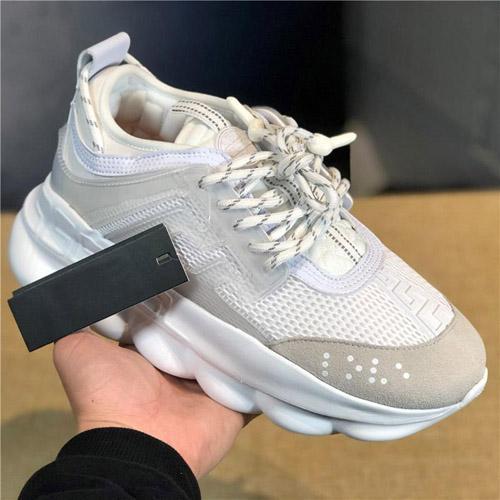 2019 Yeni Tasarımcı Sneakers Zincir Reaksiyon Düz Rahat Eğitmen Toz Torbası Ile Yeni Bağlantı Hafif Kabartmalı Taban Yeni Ayakkabı Size36-45